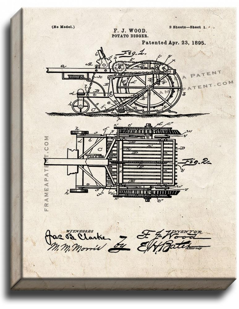 Primary image for Potato Digger Patent Print Old Look on Canvas