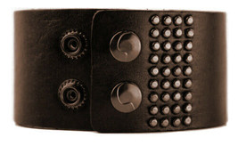 JOE'S JEANS LEATHER STUDDED LOGO CUFF WRISTBAND ROCKER BRACELET BROWN