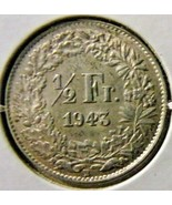 1943 Switzerland-1/2 Franc-About Uncirculated - $7.43