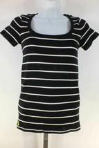 Ralph Lauren Shirt Top Black White Stripes Green Pony Sz S Short Sleeves - $33.43
