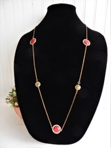 Long Chain Necklace Reversible Rhinestones Red Filigree Adjustable With Earrings - $20.00