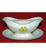 Crown Ducal #A3122 Black Bead Border Gravy Boat With Attached Under Plate - $18.27