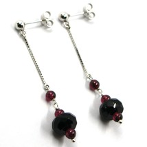 18K WHITE GOLD PENDANT EARRINGS, ONYX DISC, GARNET SPHERE, LENGTH 2.2 INCHES image 1