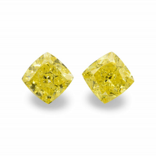 Primary image for 1.03 Carat Fancy Intense Yellow Loose Diamond Natural Color Cushion Cut Pair GIA