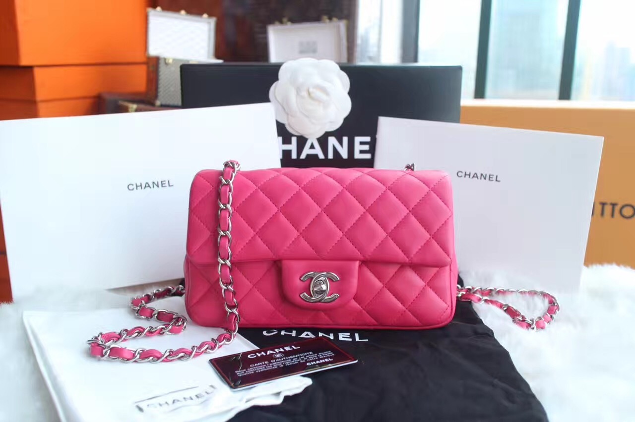 AUTHENTIC CHANEL PINK QUILTED LAMBSKIN LARGE RECTANGULAR MINI CLASSIC FLAP BAG