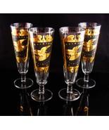 Vintage Golden Eagle goblets - vintage mid century modern - pilsner glasses - $125.00
