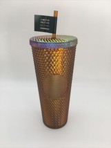 Starbucks 50th Anniversary Gold/Honeycomb Studded Tumbler Venti 24oz Brand New  - $51.48