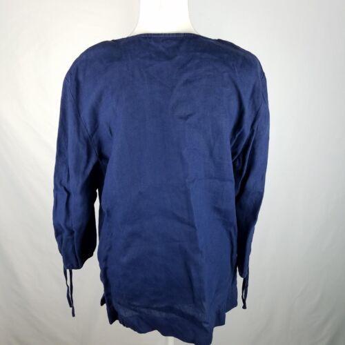 JM Collection Top Blouse Shirt 14 Blue Navy Linen Beaded Embellished 3/4 Sleeve