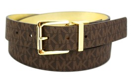 Michael Kors Women's MK Logo Premium Leather Reverisble Belt Brown 551508