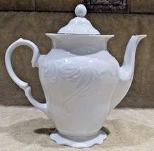 White Scallop Gold Trim Teapot Tea Pot w/ Lid RARE! Free Shipping - $54.45