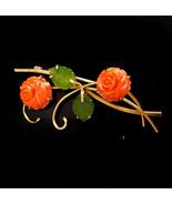 Vintage jade coral flower brooch - 1940's sweetheart jewelry - Japanese ... - $85.00