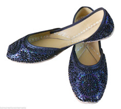 Women Shoes Indian Handmade Traditional Mojari Oxfords Leather Black Jutti US 9  - £20.21 GBP