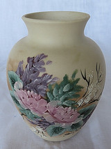 """VTG potery VASE Flowers Hand-Painted Shirley Princeton Canada 6"""" tall - $35.00"""