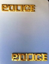 Police Collar Pin Set Gold Plated Cut Out Letters Professional 4317G 3/8... - $13.69