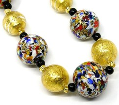 NECKLACE MACULATE MULTI COLOR MURANO GLASS BIG SPHERES, GOLD LEAF, ITALY MADE image 2