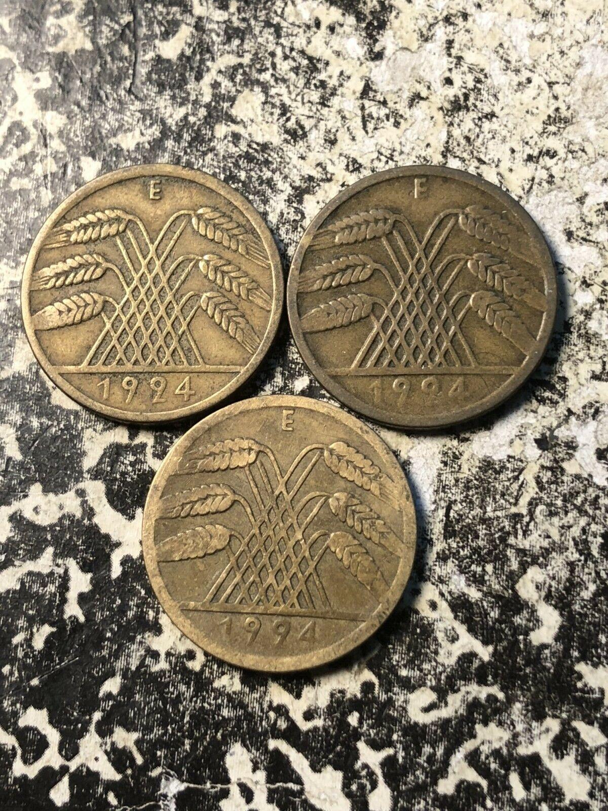 1924-e Alemania 10 Rentenpfennig (3 Disponibles) Circulación (1 Moneda Solo)