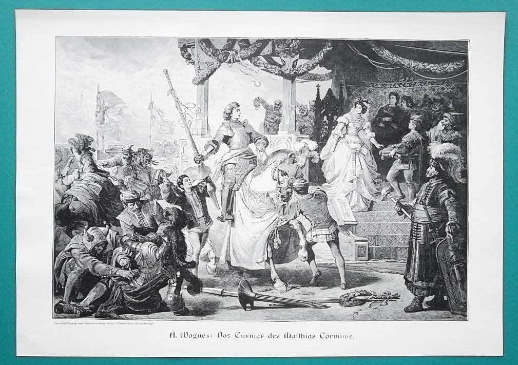 HUNGARY Knight Tournament of Matthias Corvinus Royal Court - VICTORIAN Era Print