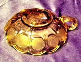 Vintage Fostoria Coin Glass Nappy dish with handle amber AA19-CD0013 image 3