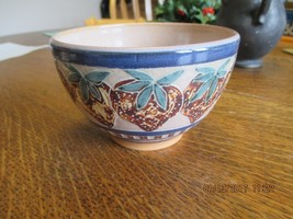 MINI POTTERY BOWL EMBOSSED STRAWBERRIES SIGNED BY MAKER  - $14.85
