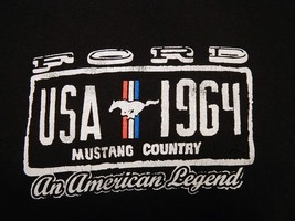 1964 Ford Mustang Country USA An American Legend Black Graphic T-shirt S... - $17.81