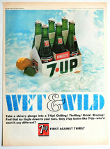 Vtg 1966 7up 7 UP king size soda bottle pack advertisement print ad art - $13.98