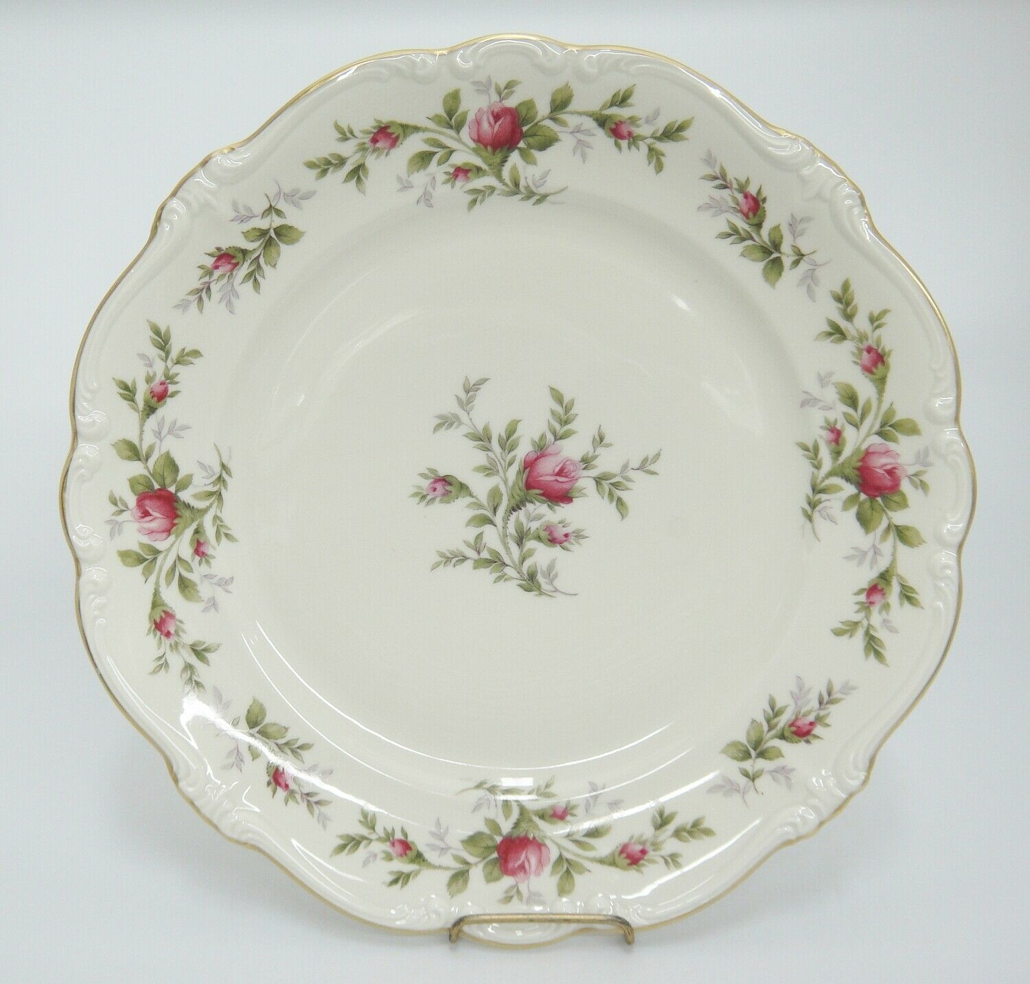 "Primary image for Rosenthal Pompadour Antoinette Moss Rose Dinner Plate 10"" Flaw Discoloration"