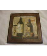 Shabby Chic Wine Bottles With Grapes And Corkscrew Wooden Wall Hanging  ... - $6.88