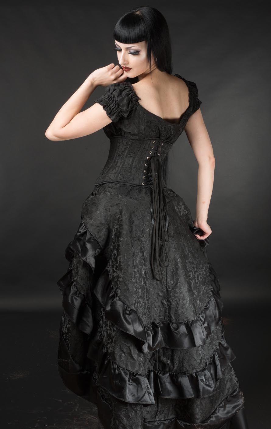 Black Brocade Ruffle Trim Corset Back Long 3 Layer Victorian Goth Skirt