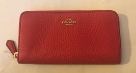 Coach 57215 Pebble Leather Accordion Zip Around Continental Wallet Bright Pink - $87.07