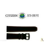 Citizen Eco-Drive B612-S084059 23mm Black Leather Watch Band w/Orange St... - $89.95