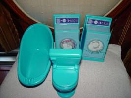 Doll House Furniture Washer Dryer Set And Bathroom Set Bathtub & Toilet - $25.00