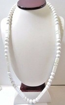 White Necklace Round And Rectangle Beaded Lucite Midcentury 1970S Plastic - $12.00