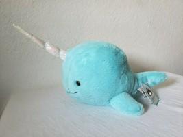 "Jellycat Aqua Sea Sorbet Narwhal Stuffed Animal Plush 9"" Unicorn Horn Wh... - $15.82"