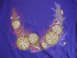 Vintage Sand & Sea Shells Florida Vacation Tourist  Purple Adult T Shirt L - $17.81
