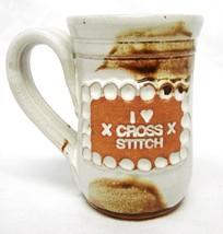 Studio B Thorpe Pottery Mug Hand Crafted I Love Cross Stitch Cup Natural Brown - $24.22