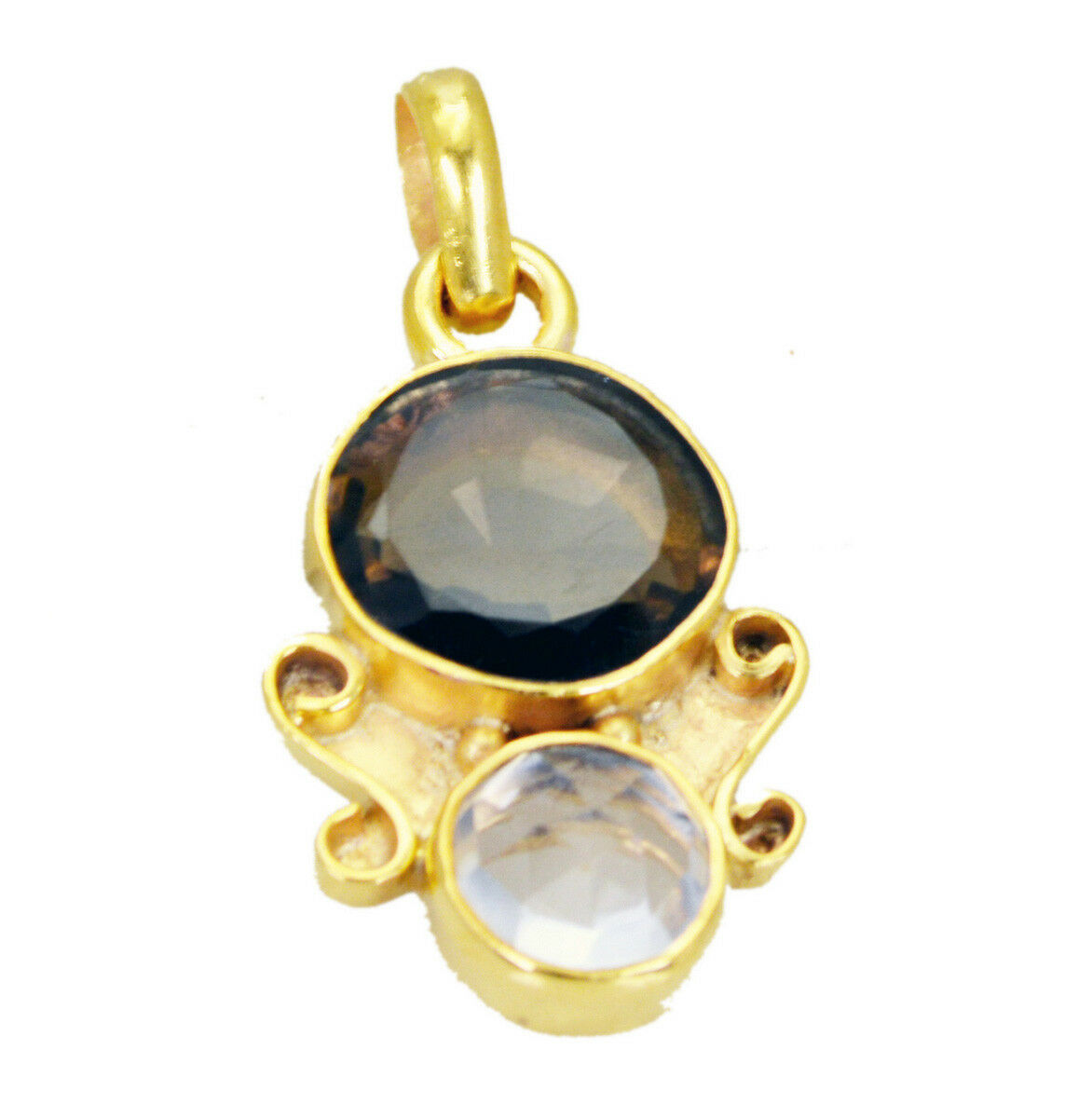 bewitching Smoky Quartz Crystal Gold Plated Brown Pendant genuine normaly US gif