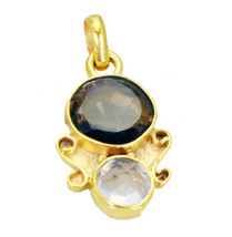 bewitching Smoky Quartz Crystal Gold Plated Brown Pendant genuine normal... - $14.84