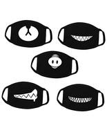 Kaptin 5 Pack Black Teeth Pattern Mouth Mask, Unisex Cotton Blend Anti D... - $8.18
