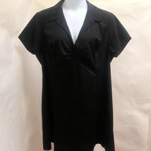 New Tahari Plus Size 22 Shirt Dress Black Short Sleeve Cotton Stretch 2X... - $62.70