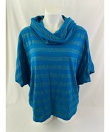 New Directions Women Extra Large Blue Gold Cowl Neck Stripe Top Casual - $10.88
