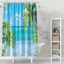 VODW Beach Shower Curtain Tropical Palm Tree Ultra Realistic Design Blue... - $19.94