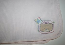 Just Born Baby Blanket Girls Pink Waffle Thermal BEAR STAR Security Soft... - $22.14