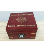 "CIA NCS SAD 16 Compass Pt Star Rosewood w Gold Paint Flip Clock Box 6""X6... - $247.49"