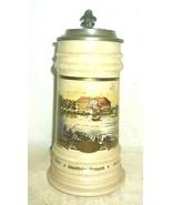 Schultheiss Berlin Schloss Bellevue lidded 1L Masskrug German Beer Stein - $49.95