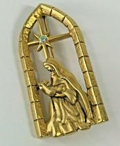 Vintage Danecraft Brooch Gold Tone Mary Jesus Christmas Rhinestone Star ... - $23.62