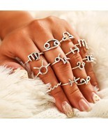 12Pcs Constellations Ring Set For Women Vintage boho Fashion Jewelry Can... - $10.35 CAD