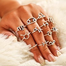 12Pcs Constellations Ring Set For Women Vintage boho Fashion Jewelry Can... - £5.91 GBP