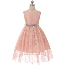 Blush Lace High-Low Style Flower Girl Dress with Rhinestones on The Sati... - £34.91 GBP+