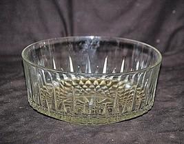 "Vintage Arcoroc 9"" Clear Glass Bowl Vertical Cut Lines Diamond Point Bottom USA - $19.79"