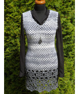 Handmade woman's crochet dress or tunic, Lace Woman Dress, Gray womens d... - $99.00